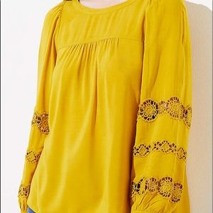 NWT LOFT Embroidered Lace Sleeve Blouse